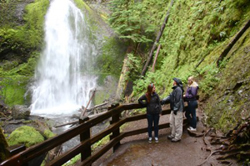 >Marymere Falls and Lake Crescent Lodge